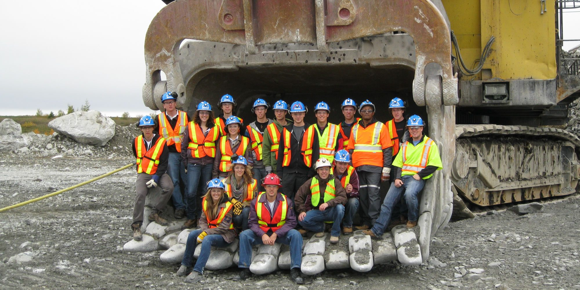 Queen's engineering students at a mine site